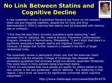 Statin does NOT cause memory problem