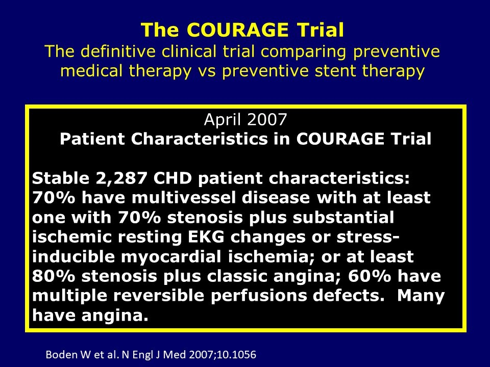 COURAGE Trial - Patient Characteristics
